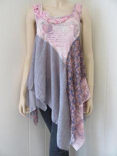 Boho Tunic Shabby Romantic Sleeveless with Floral Print
