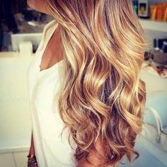 Dark blonde/light brown color with caramel highlights