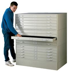End wall of storage room with tall flat files This is a must have