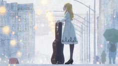 """""""If you're wondering where the enchanting atmosphere in Carole & Tuesday's opening comes from: Tadahiro Uesugi's concept art for the first scene and the correspondent shot. Manhwa, Western Anime, Ojamajo Doremi, Color Script, Born To Run, Cute Icons, Two Girls, Illustrations, Classic Movies"""