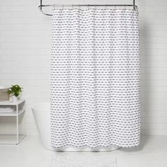 Target Shower Curtains, Striped Shower Curtains, Black Curtains, Shower Curtain Rods, Drapes Curtains, Curtain Patterns, Textile Patterns, Guest Bathroom Remodel, Dobby Weave