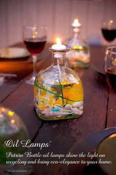 DIY Patron bottle oil lamp... I wonder if you could put citronella in these?