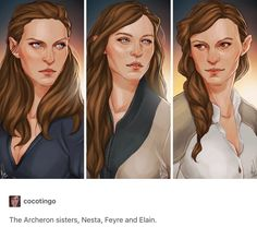 The Acheron sisters- Nesta, Feyre and Elain by cocotingo