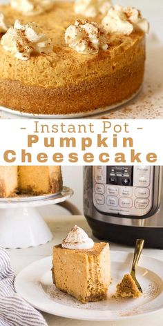 """Instant pot pumpkin cheesecake recipe is for the Instant Pot mini. It is baked in a 6"""" springform pan with ample instructions for a perfect creamy result! Instant Pot Cake Recipe, Instant Pot Cheesecake Recipe, Pumpkin Cheesecake Recipes, Instant Pot Dinner Recipes, Cheesecake Desserts, Pumpkin Recipes, Fall Recipes, Pumpkin Cheescake, Fast Dessert Recipes"""