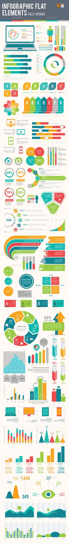 Infographic Tutorial infographic tutorial illustrator cs3 templates for word : Infographic Flat Elements Design 3 | Infographic, Flats and Ai ...