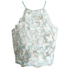 RUIGO ® Strappy 3D Butterfly Backless Lace Gauze Casual Blouse Tank... (£12) ❤ liked on Polyvore featuring tops, crop tops, lace camisole, white crop tank, white lace tank, bustier crop tops and white tank