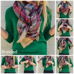 Scarf tying, square scarf how to wear a, blanket scarf outfit, scarf ou Blanket Scarf Outfit, How To Wear A Blanket Scarf, How To Wear Scarves, Plaid Scarf, Tie Scarves, Diy Scarf, Scarf Tying Blanket, Square Scarf How To Wear A, Blanket Shawl