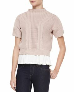 Rebecca Taylor Short-Sleeve Mock-Neck Cropped Sweater, Bubble Pink - Neiman Marcus
