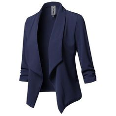 Elegant Solid Paneled Shawl Collar Winter Cony Hair Plus Size Blazer - Navy Blue / Suit Jackets For Women, Blazers For Women, Suits For Women, Clothes For Women, Fit Women, Business Outfits, Business Fashion, Business Wear, Business Casual