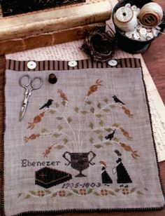 Mourning Tree Sewing Bag is the title of this cross stitch pattern from Stacy Nash Primitives.