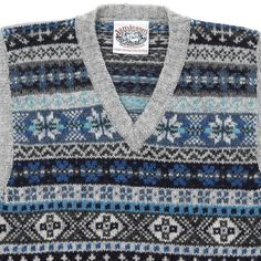 Another example of a fair isle vest. I like the blues with the grey, although it could appear colder than I want it to. Vintage Sweaters Mens, Love Knitting Patterns, Knit Stranded, Fair Isles, Black Costume, Fair Isle Pattern, Fair Isle Knitting, Cozy Sweaters, Knitwear