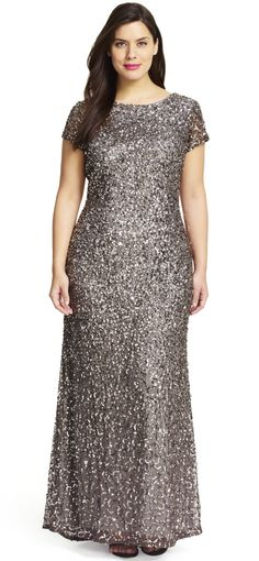 Adrianna Papell | Scoop back beaded gown