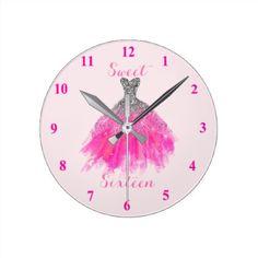 Sweet Sixteen Sparkle Dress Round Clock - birthday gifts party celebration custom gift ideas diy