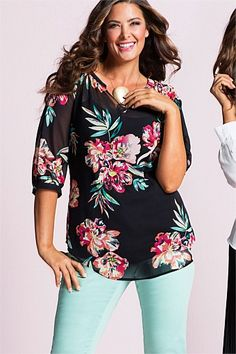 Plus Size Women's Fashion - Sara Notch Neck Tunic - Ezibuy. Wonder if I can find one in same cut/style but w/out the floral