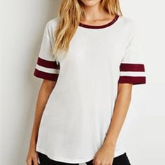 FOREVER 21 - Varsity Striped Tee Cream/burgundy short sleeve tee, comfortable fit & casual - perfect everyday tee - never worn but got a stain while in storage (see picture) very small yellow spot. ❌TRADES❌ Forever 21 Tops Tees - Short Sleeve