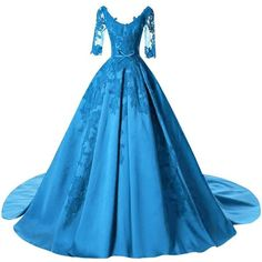 DINGZAN Satin Applique Ball Prom Quinceanera Dresses Wedding Reception... ($69) ❤ liked on Polyvore featuring dresses, gowns, quinceanera dresses, blue evening gown, ball gowns, satin ball gown and prom ball gowns
