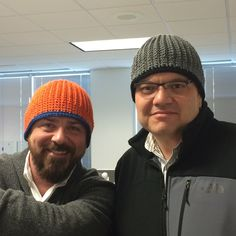 Coats employees Michael and Frank model these great crochet hats that employee Bobbie made for her nephews. The left one is in With Love and the right one in Super Saver. Pattern is the Martha Beanie designed by Marty Miller