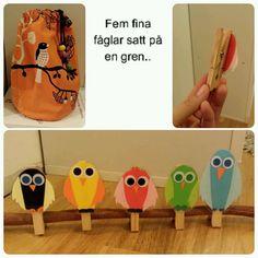 Fem fina fåglar Crafts For Kids, Preschool, Inspiration, Ideas, Communication, Photo Illustration, Crafts For Children, Biblical Inspiration, Nursery Rhymes