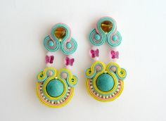 Handmade Embroidered Soutache Stud Earrings. Bead Embroidery. Soutache Jewelry.Embroidered jewelry.Pastel.