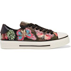 Valentino Embroidered appliquéd canvas and leather sneakers (16,795 MXN) ❤ liked on Polyvore featuring shoes, sneakers, valentino, black canvas shoes, butterfly trainer, valentino sneakers, canvas lace up sneakers and black leather shoes