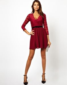 ASOS 3/4 Sleeve Lace Scallop Skater Dress