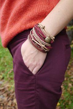 Marsala Wrap Bracelet Boho Bracelet Brown Maroon by cardioceras