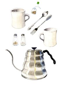 So lovely! Coffee Tea Print  Kitchen Watercolor Painting  11x14 by EmProud, $34.00
