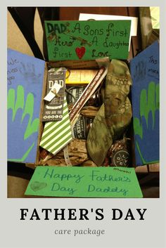 """Father's Day Care Package Idea-- """"Dad: A son's first hero, a daughter's first love"""". Plus, links to the recipe's and printables sent with this box! 