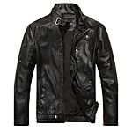 Men's Daily Vintage Spring Fall Leather Jacket,Solid Striped Print Stand Long Sleeve Regular Linen Acrylic Calfskin 2018 - $29.99