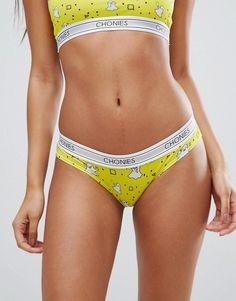 Chonies Ghostie Logo Briefs - Yellow Yellow Bra, Yellow Lingerie, Yellow Shorts, Lingerie Set, Best Brand, My Girl, Underwear, Briefs, Sexy
