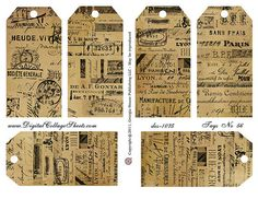 New Vintage French Ephemera Tags Collage Sheet   DigitalCollageSheets French Text Tags DCS-1075, Printables, Downloads