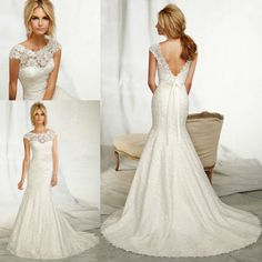 cap sleeve trumpet style lace sexy low back wedding dresses Fit into your wedding dress, lose 10lbs in 3 days!