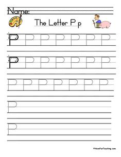 UsingLetter P Handwriting Practice Worksheet, students trace and then write the letter P in order build their Zaner-Bloser style print handwriting skills. Letter Writing Worksheets, Handwriting Practice Worksheets, Print Handwriting, Teaching Handwriting, Handwriting Analysis, Alphabet Writing, Teaching Letters, Writing Words, Digraphs Worksheets