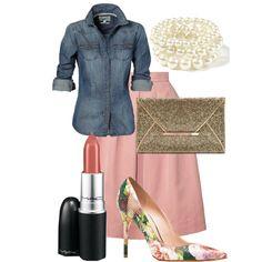 Vintage Blush tea length pleated Orla Kiely skirt, floral pumps,  gold clutch,  mac lipstick, denim shirt & pearls