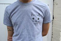 Grey cat face t shirt  cat tee  I like cats  grey by ilikeCATSshop