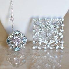 今日は クンツァイト・アクアマリン・ダイアモンドリング ダイアモンドペンダントブローチ ダイアモンドブレスレット を組み合わせてみました。