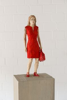 Stephan Balkenhol, Woman in red dress and with red handbag, 2013, Coloured wawa wood, 168 x 24 x 30 cm | 66.14 x 9.45 x 11.81 in, # BALK0004