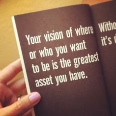 your vision of where or who you want to be is the greatest asset you have