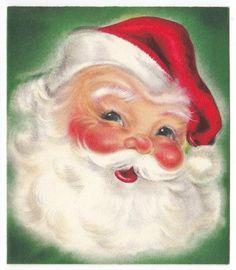 Vintage Greeting Card Christmas Santa Claus Head Face Hallmark 1950s