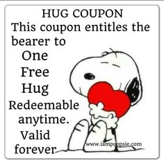 ♥ Hug Coupon with Snoopy on it Snoopy Hug, Snoopy Love, Snoopy And Woodstock, Charlie Brown Quotes, Charlie Brown And Snoopy, Charlie Charlie, Peanuts Quotes, Snoopy Quotes, Peanuts Cartoon