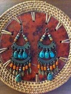 Ethnic Rustic Turquoise Terracotta Handmade Dangling by RareFocus, $23.00