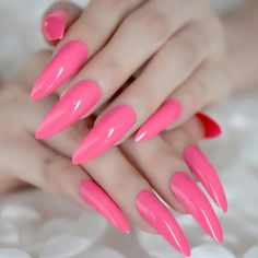 Hot Pink Extra Long False Nails Stiletto Tips Oval Sharp End Stilettos Fake Nail Rose Red UV Gel Manicure Artificial Nails Salon Pink Stiletto Nails, Neon Acrylic Nails, Acrylic Nail Powder, Powder Nails, Acrylic Nail Designs, Blue Nails, Color Nails, French Nails, Nail Store
