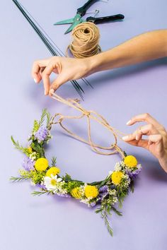 This Is The Easiest DIY Flower Crown EVER #refinery29 http://www.refinery29.com/how-to-make-a-flower-crown#slide-14 Step 14: String It ThroughThread the plain twine or ribbon through the two loops and tie into a bow. This will allow you to fit the crown on your head and adjust as needed.