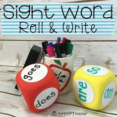 Could use spelling words! Sight Word Roll and Write Activity and FREE printable. Simple and fun game to engage students with sight words. Perfect for PreK, Kindergarten, First Grade, Grade. Kids Sight Words, Teaching Sight Words, Sight Word Practice, Sight Word Activities, Reading Activities, English Activities, Guided Reading, Word Reading, Montessori Activities