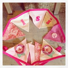 Personalised baby girl bunting made for a friend. Make And Sell, How To Make, Baby Bunting, Personalised Baby, Girly, Nursery, Tableware, Handmade, Vintage