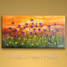Huge Original Impressionist Palette Knife Oil Painting On Canvas Panels Gallery Stretched Flower. In Stock $195 from OilPaintingShops.com @Bo Yi Gallery/ ops7027