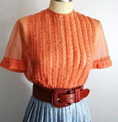 Vintage 1950s Sheer Terra Cotta Colored Ruffle by chrissyjosimpy5, $35.00