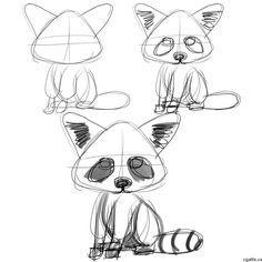 cartoon raccoon drawing step build the entire raccoon using triangles and circles. Raccoon Craft, Cute Raccoon, Racoon, Raccoon Mask, Animal Sketches, Animal Drawings, Drawing Sketches, Drawing Ideas, Sketching