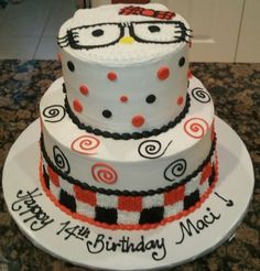 Hello Kitty Nerd Cake! Love it! I would want pink and white and black though!