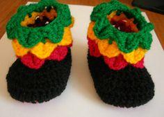Rasta baby booties. Crocodile stitch. Hand made.  http://cgi.ebay.co.uk/ws/eBayISAPI.dll?ViewItem&item=151237407356&ssPageName=STRK:MESE:IT